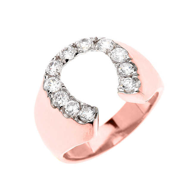 Rose Gold Cubic Zirconia Horseshoe Lucky Men's Ring