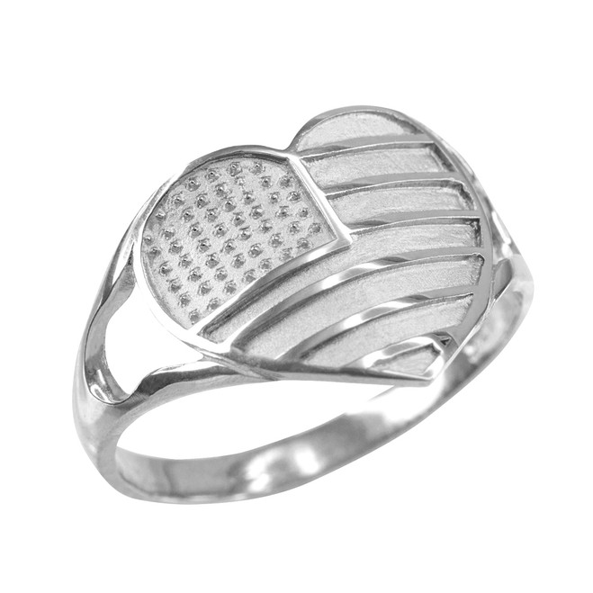 Silver Heart Shaped US American Flag Ring