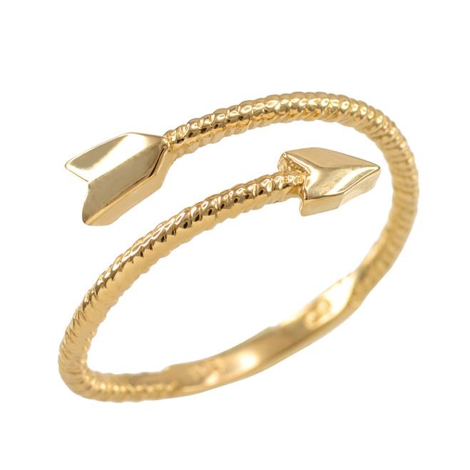Yellow Gold Arrow Wrap Ring for Women