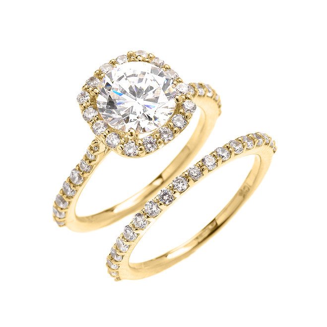 Beautiful Dainty Yellow Gold 3 Carat Halo Solitaire CZ Engagement Wedding Ring Set