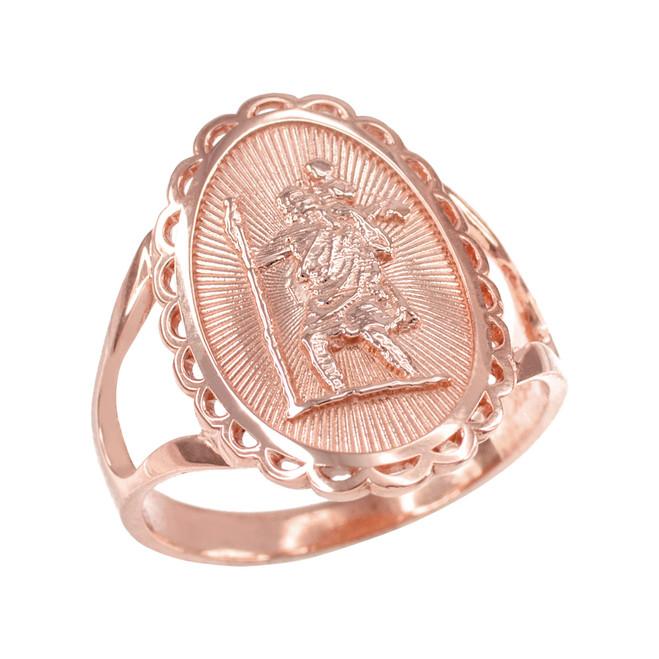 Rose Gold Saint Christopher Oval Women's Ring
