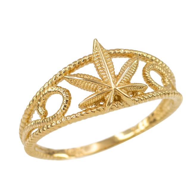 Women's Gold Textured Filigree Weed Marijuana Leaf Ring