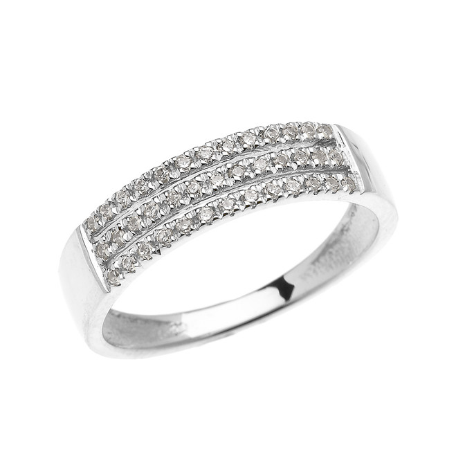 Elegant White Gold Micro Pave Modern Wedding Ring