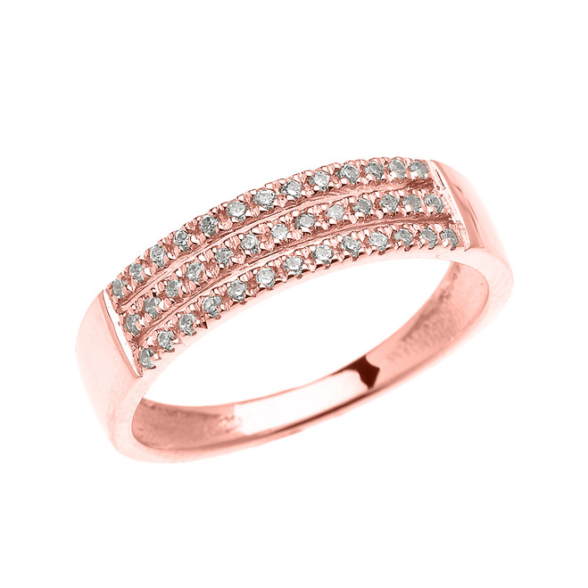 Elegant Rose Gold Micro Pave Modern Wedding Ring