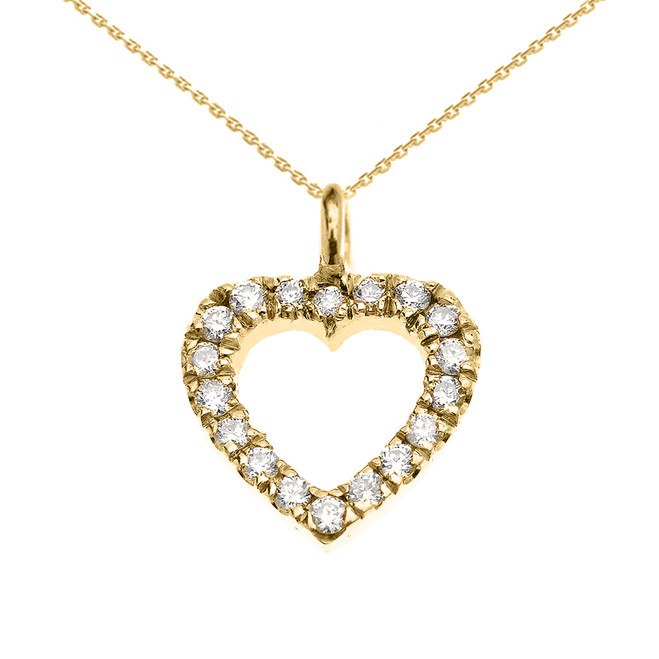 14k Yellow Gold Open Heart  Diamond Dainty Charm Pendant Necklace
