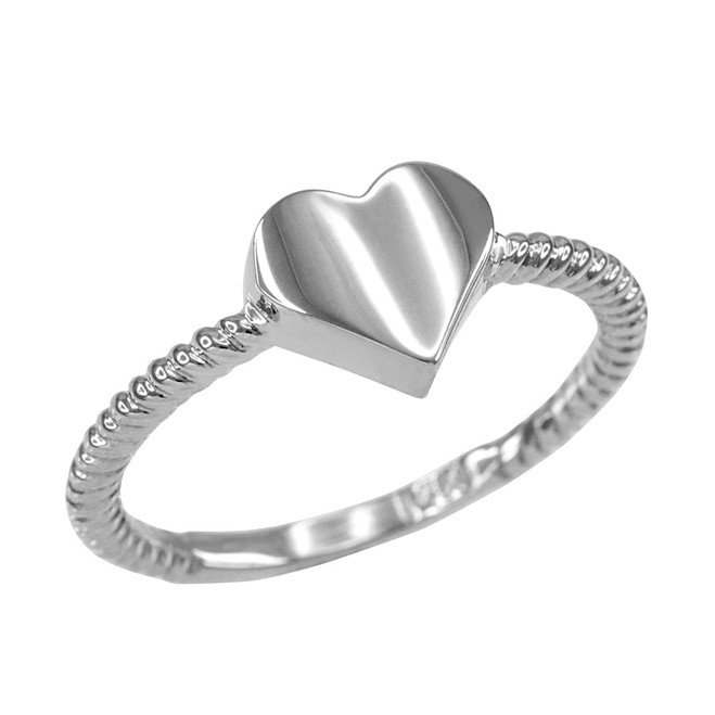Polished Sterling Silver Heart Love Ring for Women