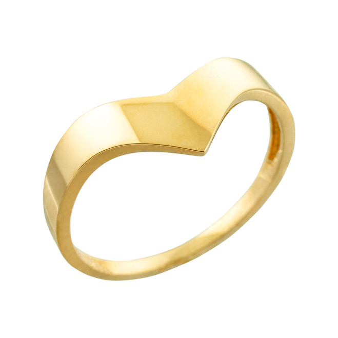 Solid Yellow Gold Chevron Ring for Women