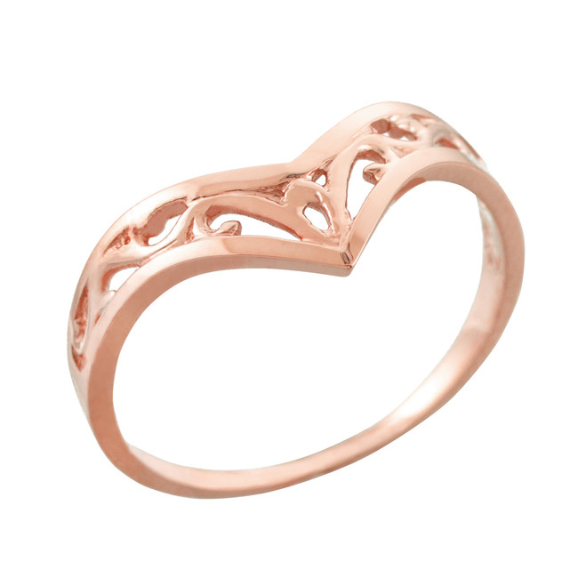 Fine Rose Gold Filigree Chevron Ring for Women