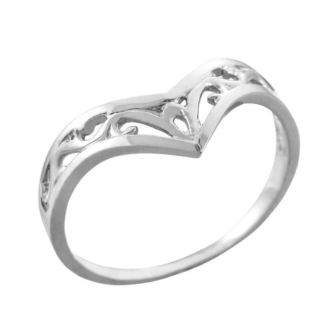 Fine Sterling Silver Filigree Chevron Ring for Women