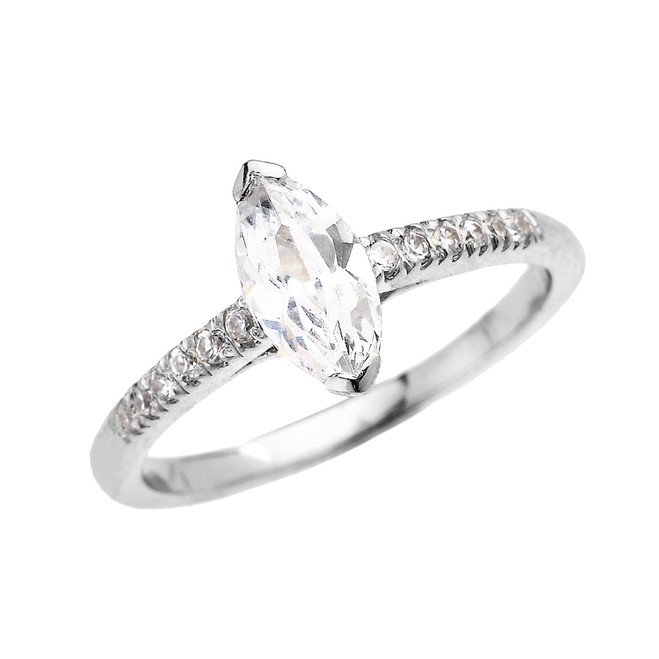 White Gold Dainty Marquise Cubic Zirconia Solitaire Proposal Ring
