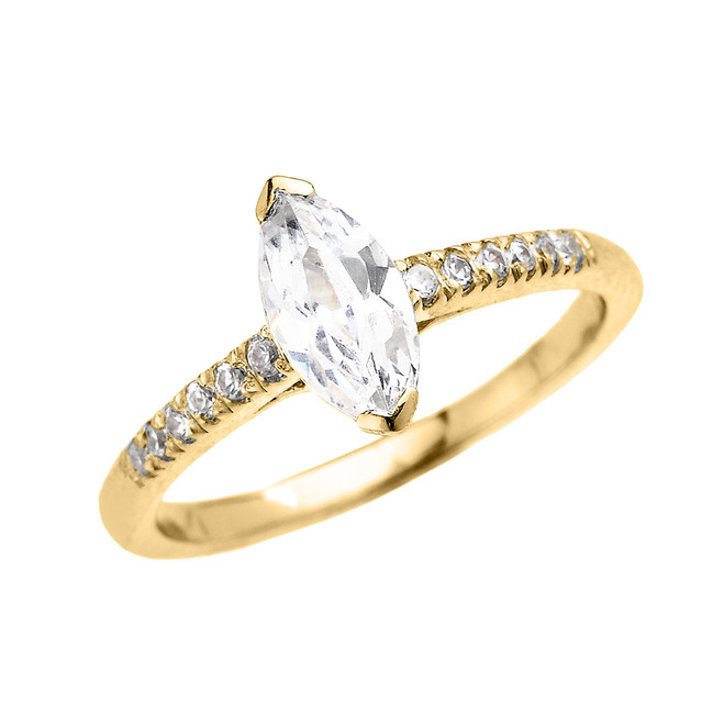 Yellow Gold Dainty Marquise Cubic Zirconia Solitaire Proposal Ring