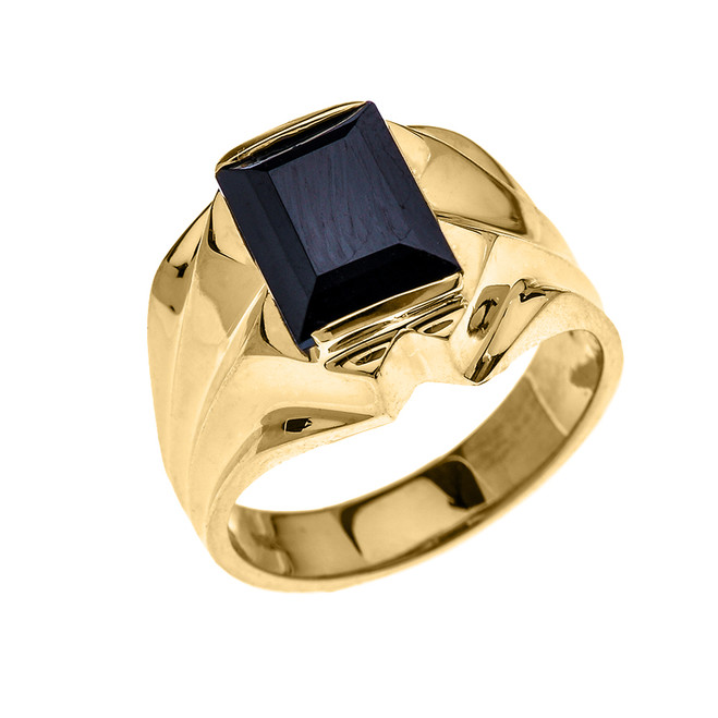 Men's Yellow Gold 4 Carat Black Onyx Bold Solitaire Ring