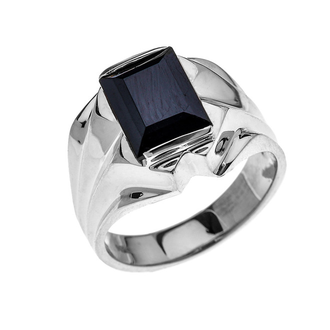 Men's White Gold 4 Carat Black Onyx Bold Solitaire Ring