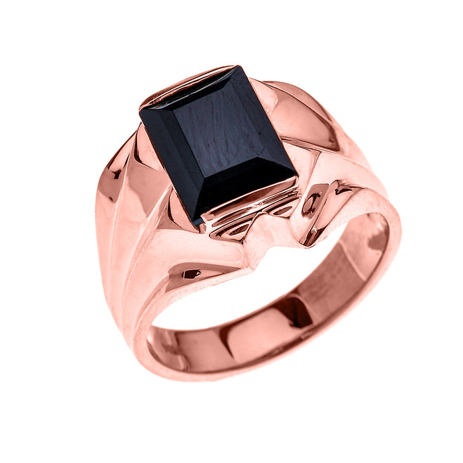 Men's Rose Gold 4 Carat Black Onyx Bold Solitaire Ring