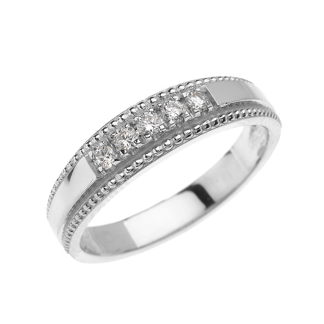 White Gold Elegant Cubic Zirconia Wedding Band Ring For Him