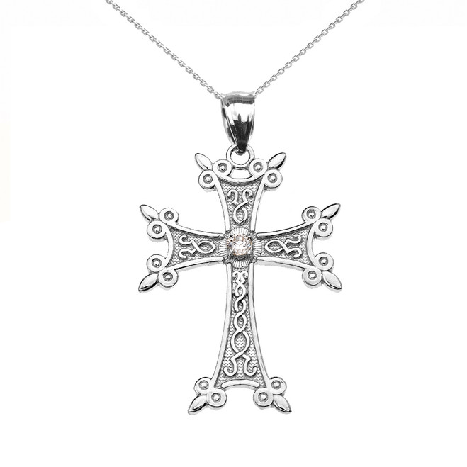 White Gold Elegant Armenian Cross CZ Pendant