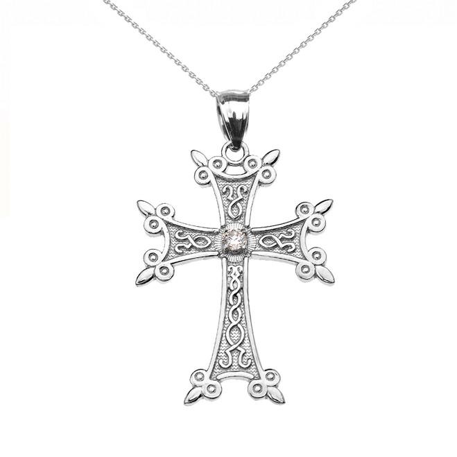 Sterling Silver Elegant Armenian Cross CZ Pendant