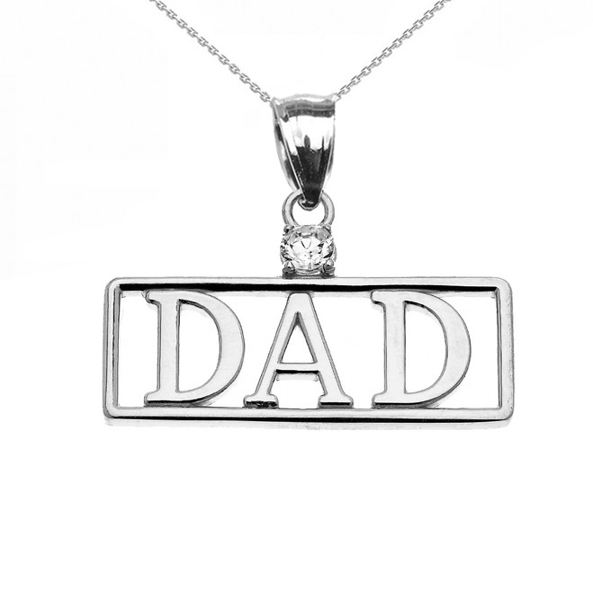 "White Gold ""DAD"" Diamond Pendant Necklace"