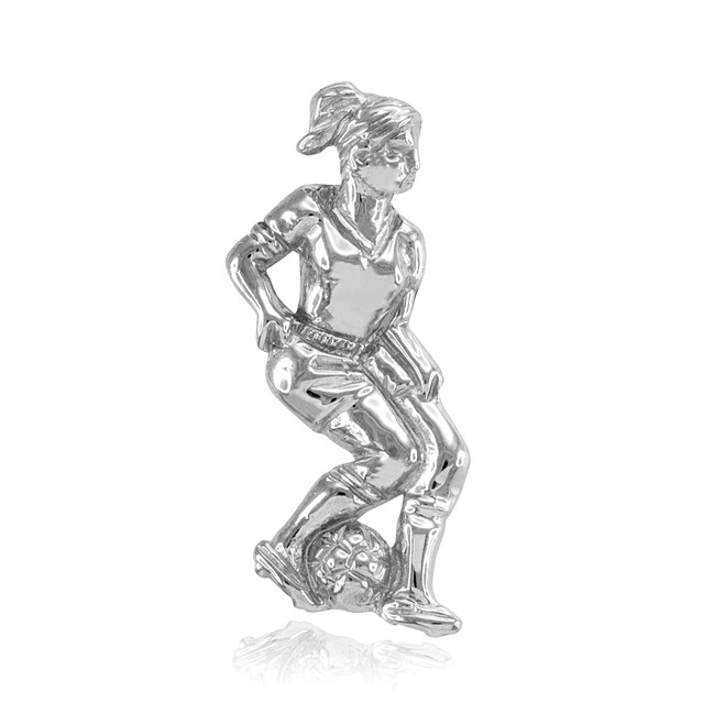 Silver Female Soccer Player Futbol Sports Pendant