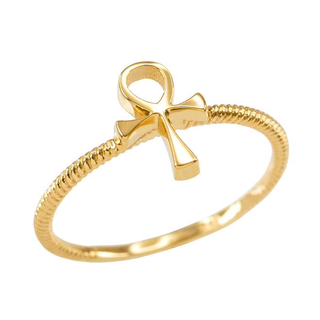 Dainty Yellow Gold Egyptian Ankh Cross Ring