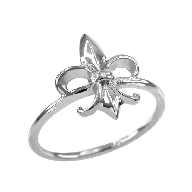 Dainty 925 Sterling Silver Fleur-de-Lis Ring