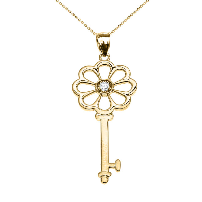 Yellow Gold Solitaire Cubic Zirconia Flower Key Pendant Necklace