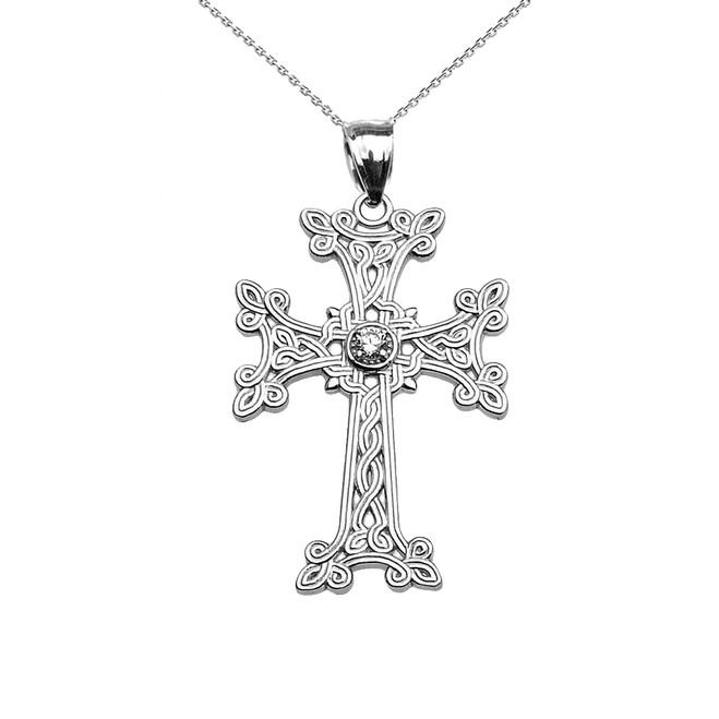 Sterling Silver Armenian Cross Solitaire Diamond Pendant Necklace