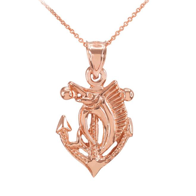 Rose Gold Anchor Marlin Diamond Cut Pendant Necklace