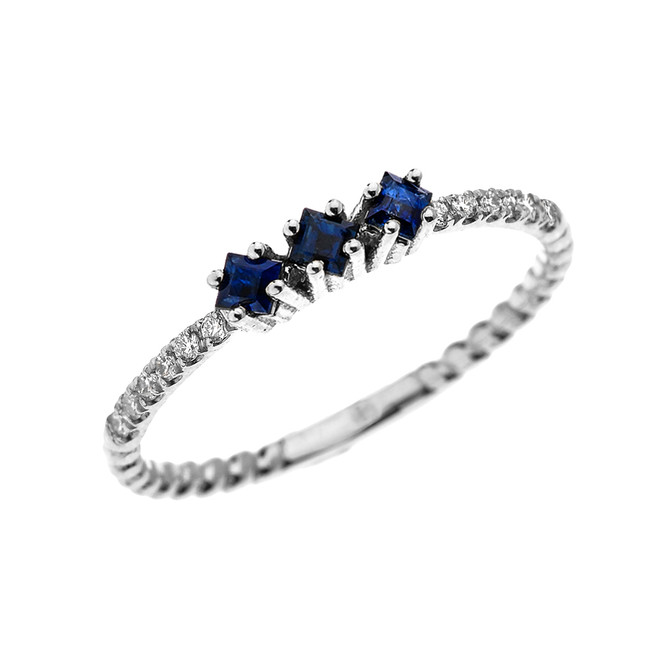 White Gold Dainty Three Stone Sapphire and Diamond Rope Design Engagement/Stackable Ring