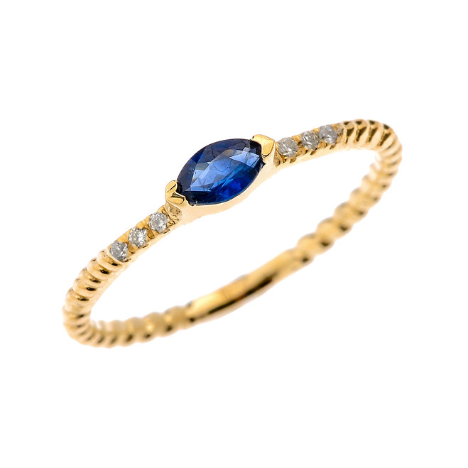 Yellow Gold Dainty Solitaire Marquise Genuine Sapphire and Diamond Rope Design Engagement/Proposal/Stackable Ring