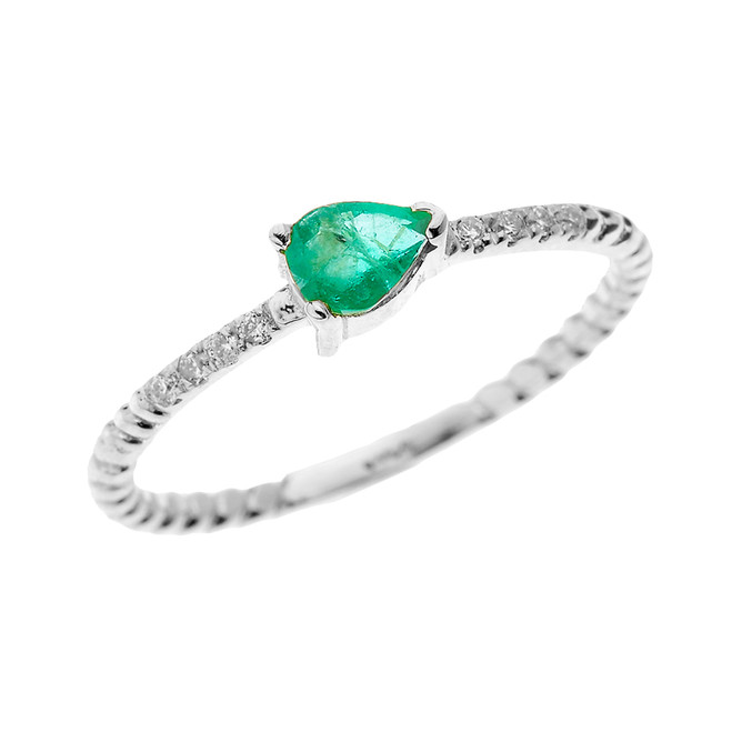 White Gold Dainty Solitaire Pear Shape Lab Created Emerald and Diamond Rope Design Engagement/Proposal/Stackable Ring