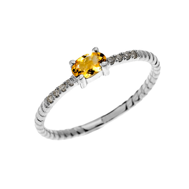 White Gold Dainty Solitaire Oval Citrine and Diamond Rope Design Engagement/Proposal/Stackable Ring