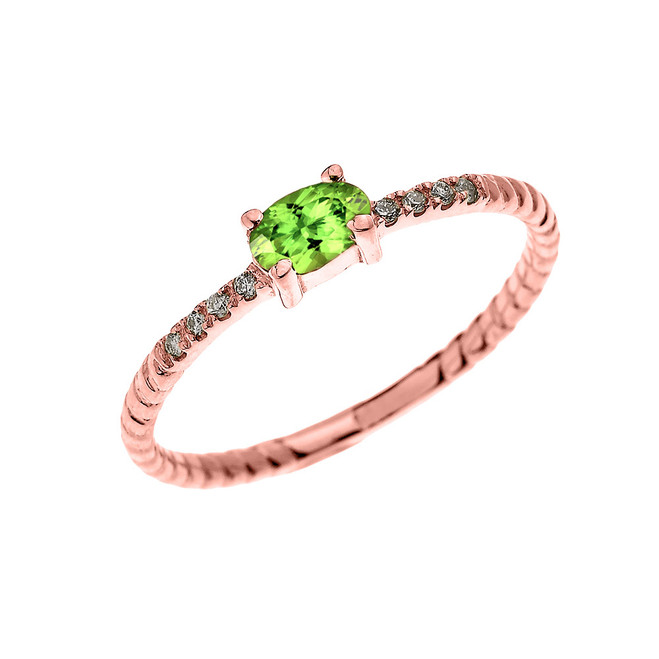 Rose Gold Dainty Solitaire Oval Peridot and Diamond Rope Design Engagement/Proposal/Stackable Ring