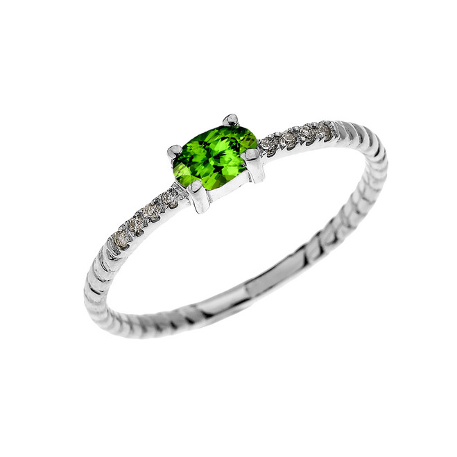 White Gold Dainty Solitaire Oval Peridot and Diamond Rope Design Engagement/Proposal/Stackable Ring
