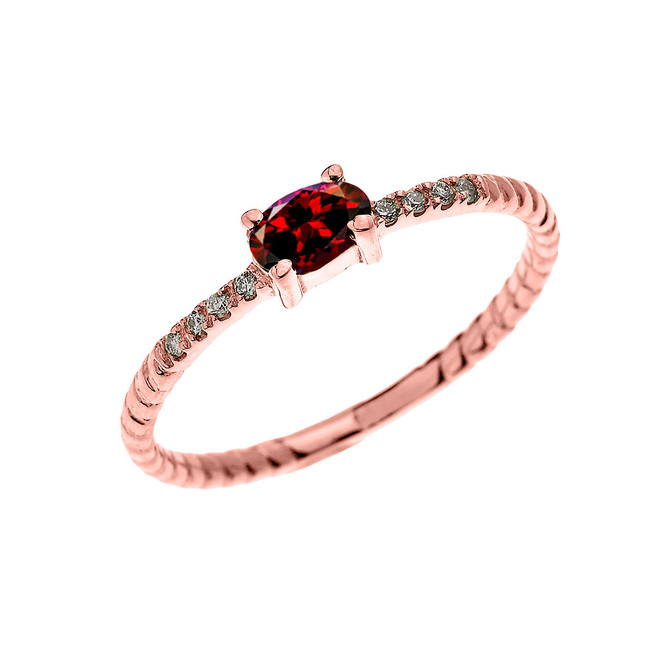 Rose Gold Dainty Solitaire Oval Garnet and Diamond Rope Design Engagement/Proposal/Stackable Ring