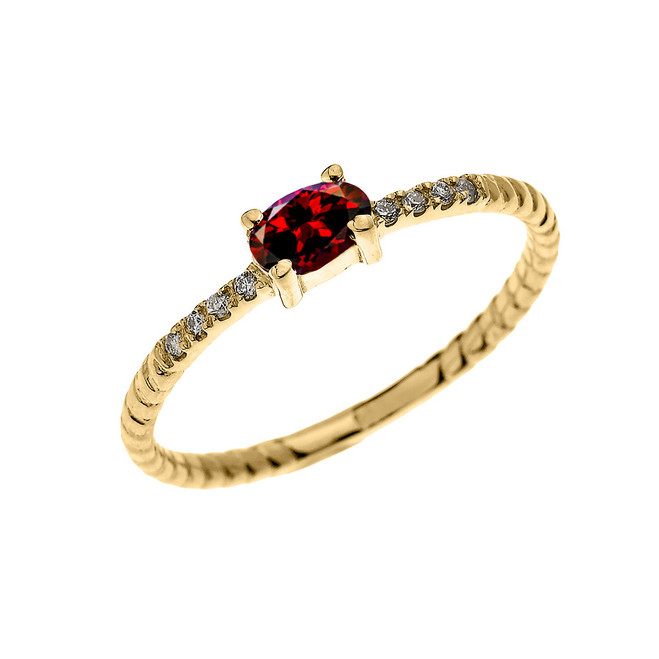 Yellow Gold Dainty Solitaire Oval Garnet and Diamond Rope Design Engagement/Proposal/Stackable Ring