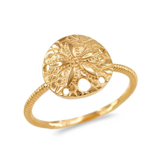 Yellow Gold Twisted Rope Band Sand Dollar Ring