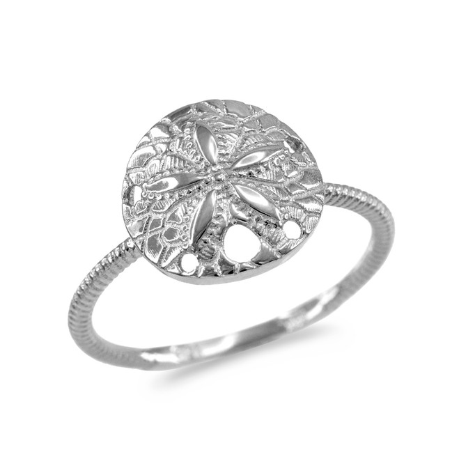 White Gold Twisted Rope Band Sand Dollar Ring
