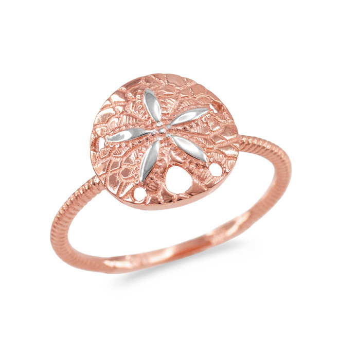 Two-Tone Rose and White Gold Twisted Rope Band Sand Dollar Ring
