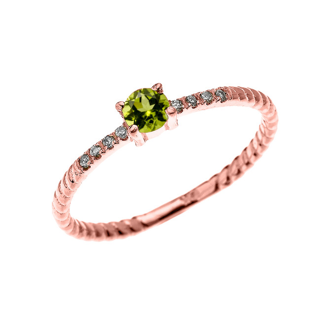 Rose Gold Dainty Solitaire Peridot and Diamond Rope Design Engagement/Proposal/Stackable Ring