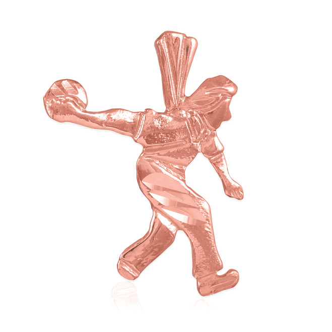 Rose Gold Bowler Charm Sports Pendant
