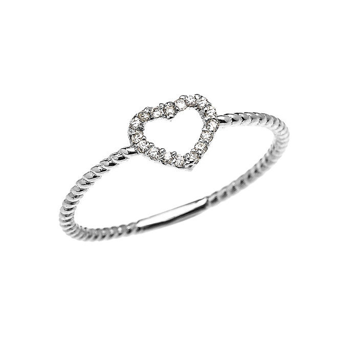 White Gold Dainty Open Heart Diamond Rope Design Promise/Stackable Ring