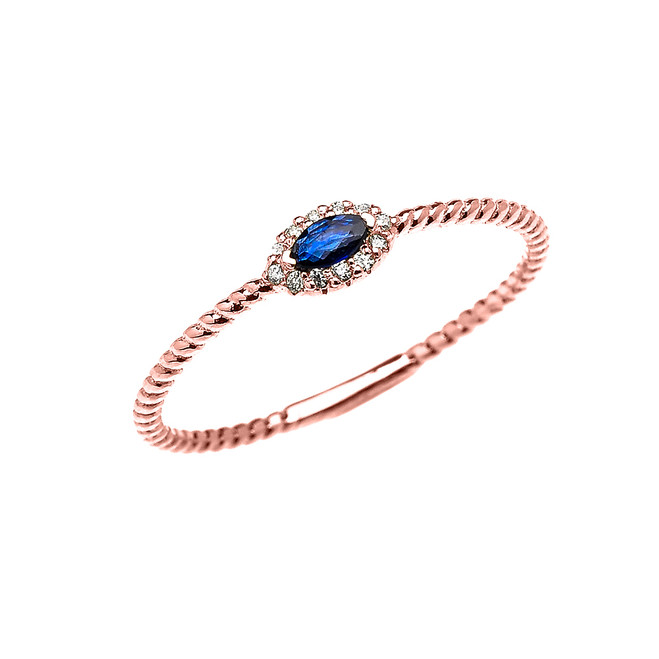 Rose Gold Dainty Halo Diamond and Marquise Sapphire Solitaire Rope Design Promise/Stackable Ring