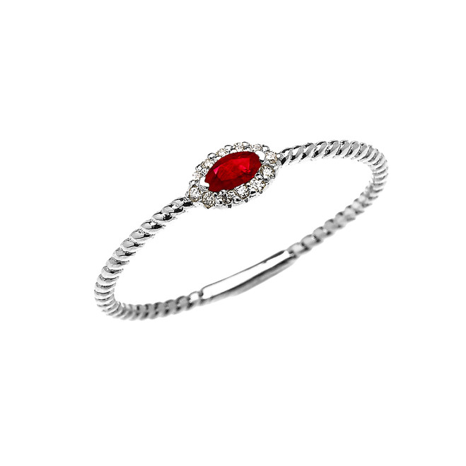 White Gold Dainty Halo Diamond and Marquise Ruby Solitaire Rope Design Promise/Stackable Ring