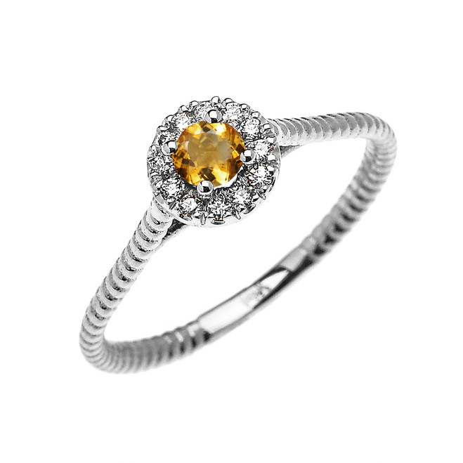 White Gold Dainty Halo Diamond and Citrine Solitaire Rope Design Promise Ring