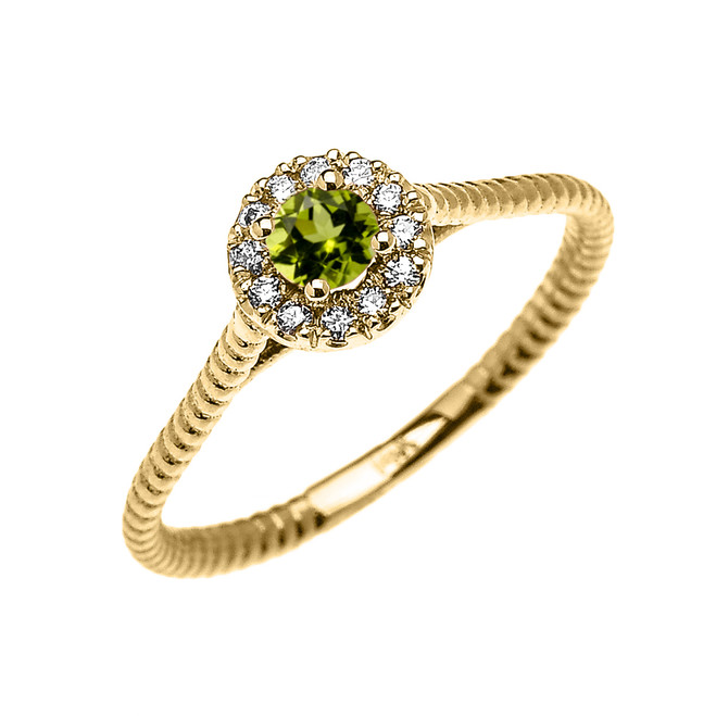 Yellow Gold Dainty Halo Diamond and Peridot Solitaire Rope Design Promise Ring