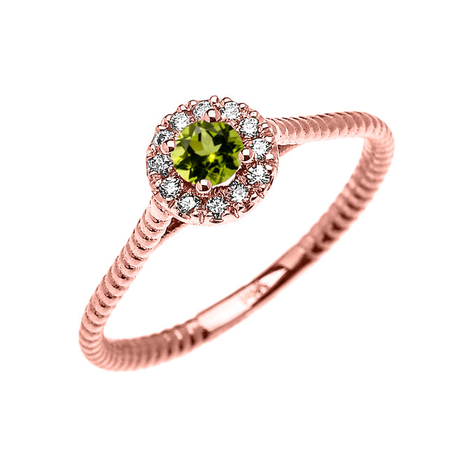 Rose Gold Dainty Halo Diamond and Peridot Solitaire Rope Design Promise Ring