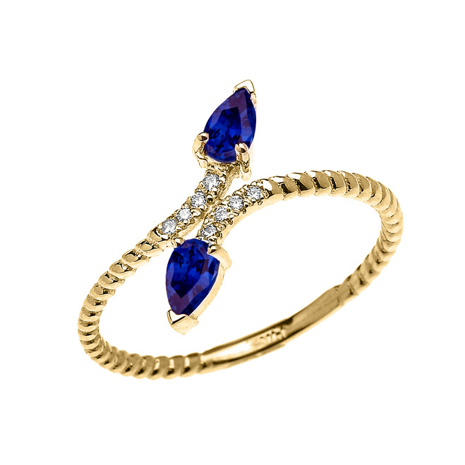 Yellow Gold Dainty Two Stone Pear Shape Sapphire and Diamond Rope Design Promise Ring