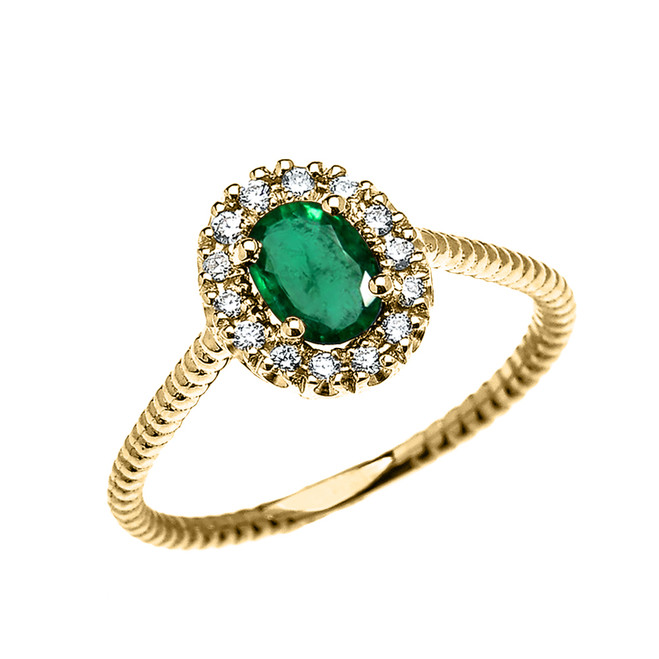 Yellow Gold Dainty Halo Diamond and Oval Emerald Solitaire Rope Design Engagement/Promise Ring