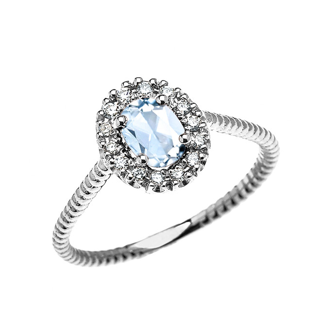 White Gold Dainty Halo Diamond and Oval Aquamarine Solitaire Rope Design Engagement/Promise Ring